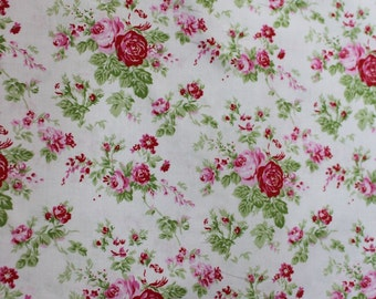 Delilah Cotton Fabric by Tanya Whelan Pink Roses light creamy white background TW35wht
