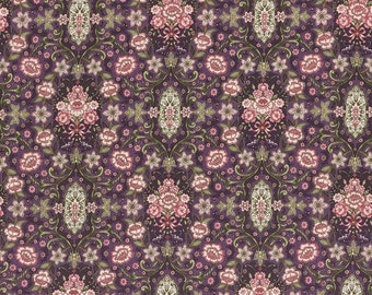 Josephine Rose Cotton Fabric Plum Damask by Lecien 30883-110