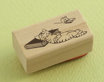 Japanese Cat Wooden Rubber Stamp - Cat Sleeping on Book with Mice - Pottering Cat