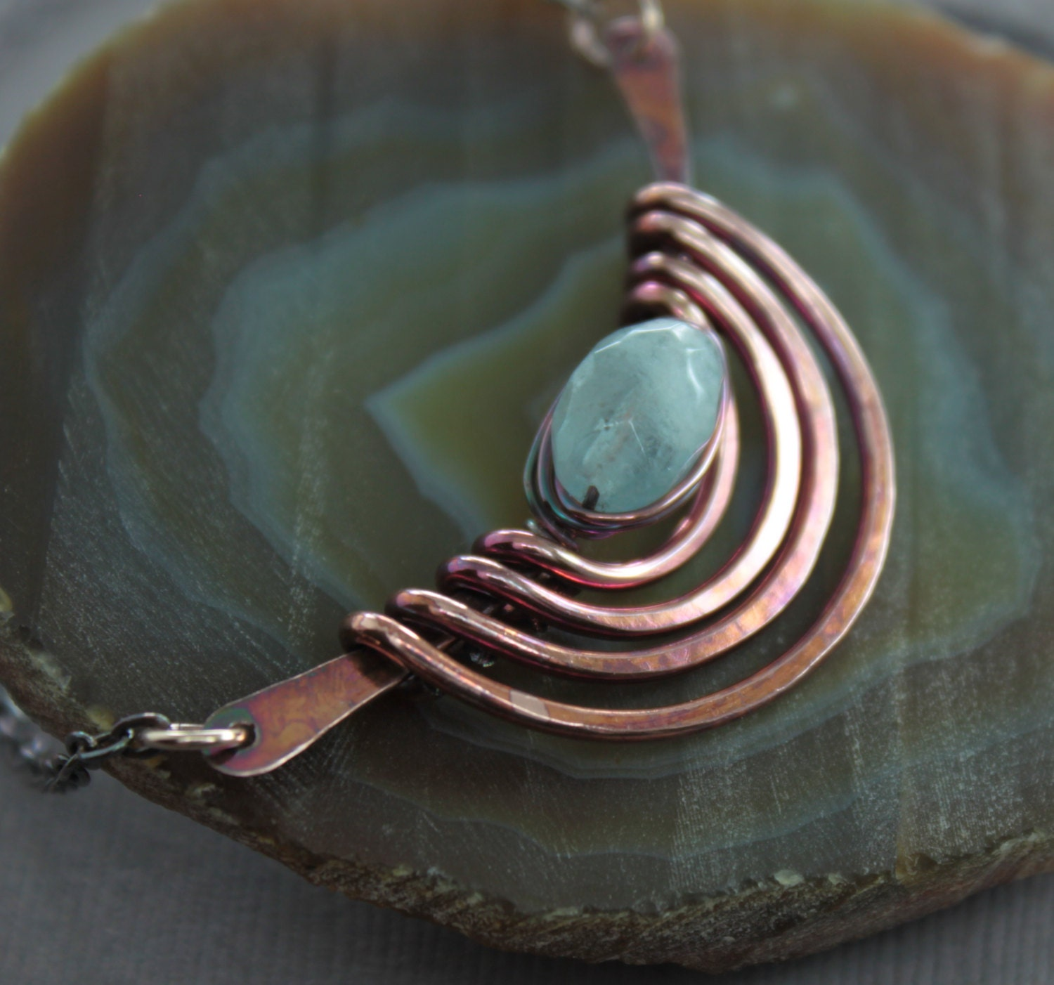 Tribal Inspired Copper Necklace With Aquamarine Stone Nugget