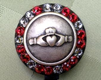 Claddagh Evening Red - Retractable Lanyard Reel - Claddagh Design - Beaded ID Lanyard - ID Card Belt Clip - Key Lanyard - Nurse Gift