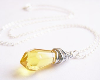 Caribbean Sunrise - Rich Yellow Glass Necklace - FREE shipping WAI - affordable quality jewelry - bridesmaid - beach weddings sale - Summer