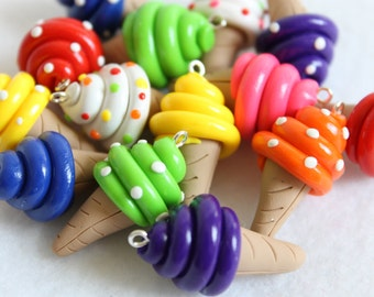 6 Colorful Polymer Clay Ice Cream Cone Charms