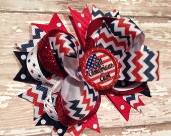 All American Girl Hair Bow, 4th of July Hair Bow, Red White and Blue Bow, Patriotic, American Flag, Baby Headband, Infant Headband, Newborn
