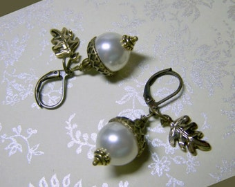 Acorn Earrings - Pearls and Oak Leaf Earrings - White Swarovski Pearl elements