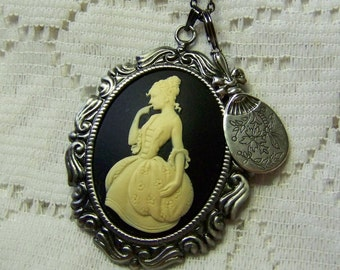 French Woman Necklace, Mademoiselle & Looking Glass, Marie Antoinette Jewelry, Hand Mirror, France, Paris, Southern Lady, Young Maiden Cameo