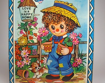 Free Shipping, Raggedy Ann or Andy Style Cork Wall Hanging. Love is a Happy Home, By Coby, Nursery, Child's Room