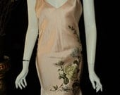 SALE Vintage Christian Dior Dress Chemise Silk Painted Floral With Rose Buttons Original Tags Never Worn