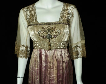 SOLD Exquisite Edwardian Gown Wedding Dress Teens Lame Metallic Lace Silk Chenille bodice/sash Final Sale