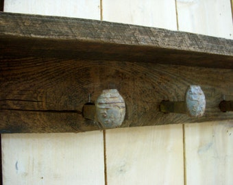 Shelf with Hooks - Railroad Spike Hooks - 40 Inch - Handmade Shelving - Honeystreasures - Rustic Home Decor - Shabby - Cottage Chic