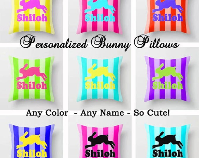 Bunny Decor throw pillow 18 x 18 personalized name throw pillow cover room decor dorm decor college colors girls room decor