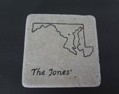 Handpainted State Personalized Coasters  Set of 4