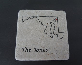 Handpainted State Personalized Coasters  Set of 4, Personalized Coaster Set, State Coaster, Wedding Gift, Retirement Gift