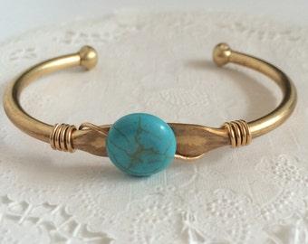 Turquoise Bracelet | Beaded Cuff | Boho Bracelet | Turquoise Brass Cuff | B100004