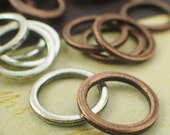 50 - 14 gauge 15mm OD Soldered Closed Jump Rings - Rustic Antique Copper or Antique Silver- Best Commercially Made -100% Guarantee