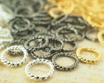 100 Fancy  Silver Plate, Gold Plate or Gunmetal Jump Rings 14 gauge 10mm OD - Best Commercially Made - 100% Guarantee