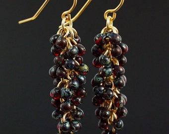 Ruby Picasso Shaggy Beaded Earrings Kit - Miyuki Glass Fringe Beads and Handmade Jump Rings and Ear Wires - Quick and Easy