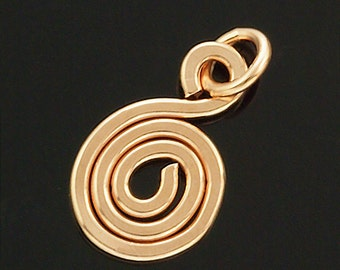1 Small Hand Forged Swirl Perfect For Charms, Pendants and Embellishments - 14kt Rose Gold Filled, 14kt Yellow Gold Filled, Sterling Silver