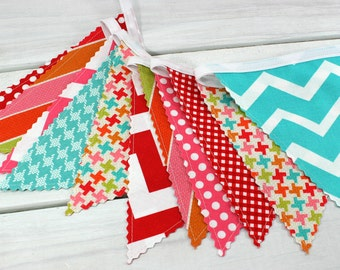 Party Decoration, Birthday Decoration, Nursery Decor, Bunting, Fabric Banner, Photo Prop, Garland - Rainbow, Chevron, Dots, Red, Teal, Pink