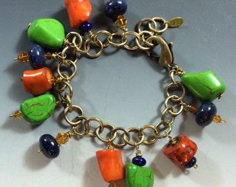 Calypso Coral, Blue Lapis, Lime Turquoise, Topaz Swarovski Crystal Bracelet with Brass Clasp & Adjustable Length Chain-2165B