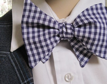 Classic Purple Gingham Bow Tie