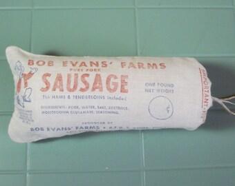 Vintage 1950s Bob Evans Roll Sausage Bag - Pig Logo - Xenia Ohio