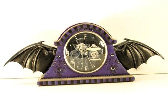 Haunted Mansion Inspired Bat Wing Mantel Clock
