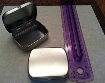 Lot of 3 Metal Tins containers, Metal Hinge Top Tins, Survival Kit Containers