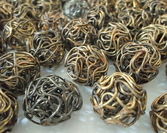 Unusual Oxidized Metal Wire Wrapped Round Beads - Twisted Wire Metal Beads - 16mm - Lot Of 10