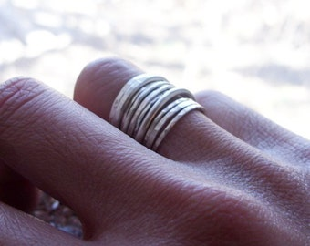 Set of 10 Mixed Hammered Sterling Silver Stacking Rings