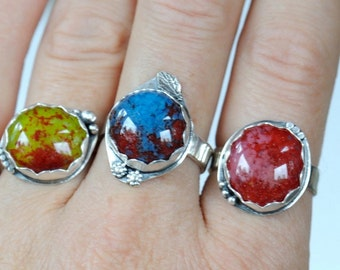 Colorful sterling silver ring with fused glass cabochons available in pink and red, chartreuse and red, or blue and red. Size 7.0-7.5