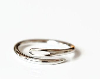 Sterling sewing needle ring. Made to order, open or closed