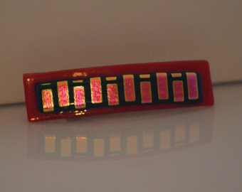 Fused Glass Barrette, Red, Pink and Gold Dichroic Glass SRAJD