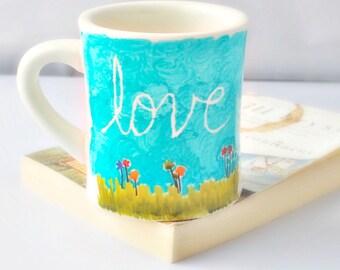 Spring Flower Coffee Mug tea cup diner mug turquoise blue green white