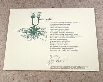 """Letterpress Poetry Broadside - """"Underside"""" - poet Jay Leeming, art & design by Jim Cokas"""