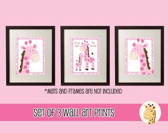 Pink Giraffe Jungle Girl Set of 3 Printed Nursery Wall Art 5x7 or 8x10