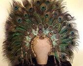 Made to Order Peacock Goddess Headpiece  Mardi Gras Drag Queen Cosplay