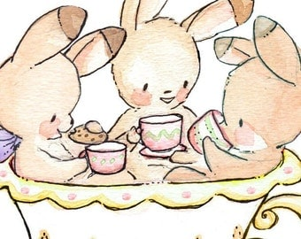Tea Party in a Teacup - LEMON. PRINT 8X10. Children Art Nursery Decor