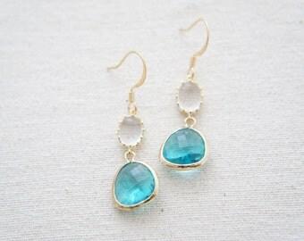 Clear and aqua blue gold earrings - drop gem earrings, bridal, wedding gift