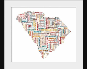 South Carolina Color State Map Couth Carolina City Cities Typography 2 Map  Poster Print