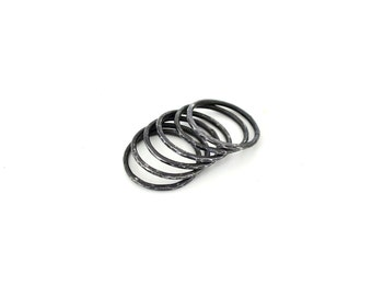 Hammered Black Iron Stacking Rings~Set of 6