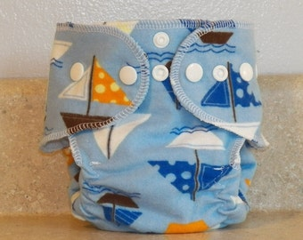 Fitted Preemie Newborn Cloth Diaper- 4 to 9 pounds- Sailboats