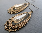 Vintage Inspired Brass Earrings, Filigree Oval Hoops, Earrings Yellow Dangle, Bridesmaid Earrings - LACE