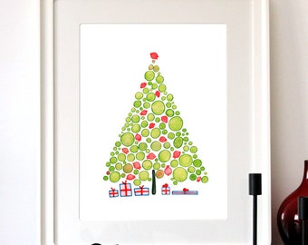 Christmas Presents Tree - Giclee Art Print Reproduction of Watercolor Painting - Trees of Life Collection