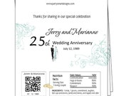 Anniversary candy wrapper/Candy Wrappers/Hershey Candy Bar Wrappers/Chocolate Bar Wrappers/foil included