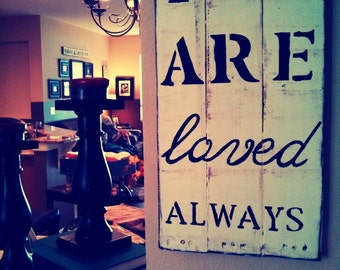 You Are Loved Pallet Distressed Wood Pallet Sign Home Decor Cottage Decor B;lack and White