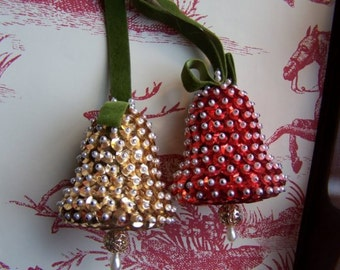 Vintage Red and Gold Sequin Bell Ornaments Set of 4