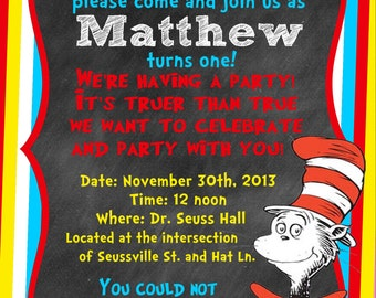 Birthday Invitation - Dr. Seuss Inspired - The Cat in the Hat Theme