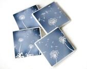 Blue Home Decor, Blowing Dandelion Decorative Tile Coaster, Set of 4 Coasters