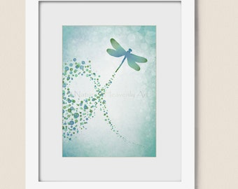 Blue Green Watercolor Dragonfly Art Print, Nature Home Decor, 5 x 7 Wall Art (79)